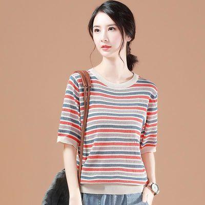 韩潮袭人夏季条纹t恤女装2020新款五分袖空调针织衫韩版宽松上衣