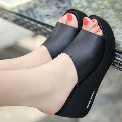 坡跟凉拖鞋女夏季外穿厚底防水台高跟鱼嘴凉鞋女学生韩版一字拖鞋