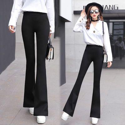 2019新款韩版西装微喇叭裤高腰休闲黑色女士弹力修身正装秋季长裤