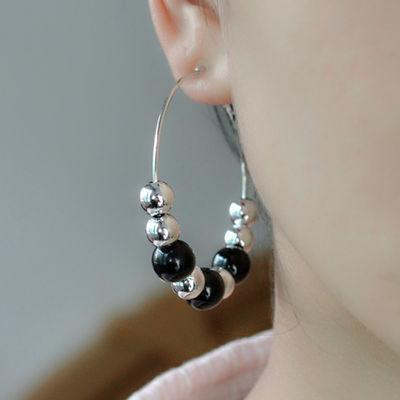 新款大圈耳环女黑色仿珍珠耳圈时尚耳坠个性夸张大耳夹无耳洞耳饰