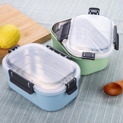 饭盒学生304不锈钢成人上班族单层长方形简约带盖韩国快餐便当盒
