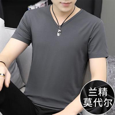 莫代尔短袖t恤男装夏季潮流V领纯色打底衫冰丝韩版半袖上衣服男生