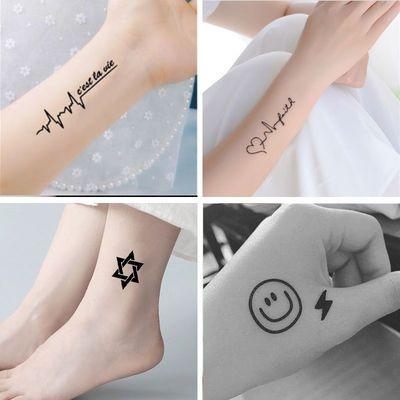 纹身贴男女防水持久韩国字母仿真性感刺青英文遮痕纹身贴纸花臂