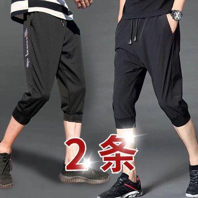 夏季韩版休闲裤男士修身束脚短裤学生大码运动装新款七分黑色刺绣