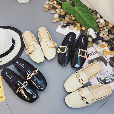 包头半拖鞋女平底外穿韩版百搭无后跟拖鞋漆皮防滑橡胶底女士拖鞋