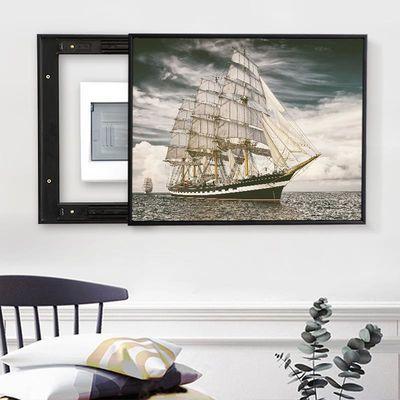 现代简约客厅电表箱遮挡装饰画开关盒可推拉式配电箱挂画一帆风顺
