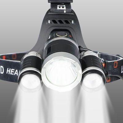 LED三头头灯强光充电式感应夜钓捕鱼灯远射超亮头戴式矿灯手电筒