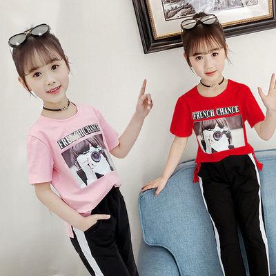 【T恤+裤子】童装女童套装2020新款韩版时髦短袖T恤九分裤两件套