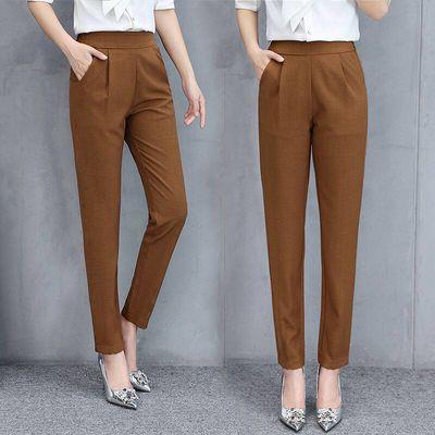 夏季显瘦高腰弹力女裤子薄款哈伦裤妈妈装外穿九分裤大码修身胖M