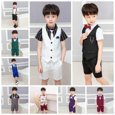 男童小西装套装绅士马甲三件套儿童演出服宝宝花童帅气婚礼服韩版