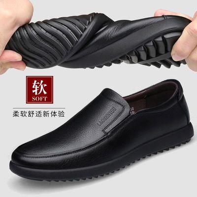 正品老人头皮鞋男春夏季真皮商务休闲皮鞋男士套脚软底透气爸爸鞋