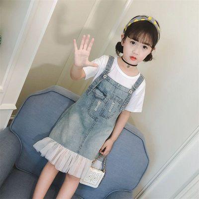 女童夏装2020新款牛仔韩版中大童洋气时髦潮衣夏季儿童背带裙套装
