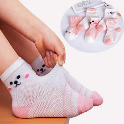 優質棉襪 5雙裝夏季網眼兒童寶寶嬰兒襪子學生中筒男女童小孩襪