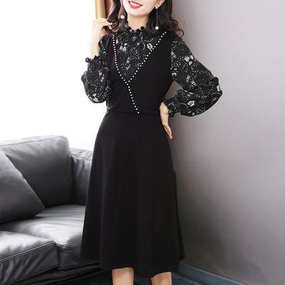 洛凡诗2020新款针织灯笼袖拼接印花假两件中长连衣裙显瘦A字裙