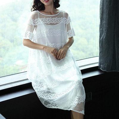 洛凡诗2020新款女夏蕾丝吊带灯笼裙两件套连衣裙中长款长裙女