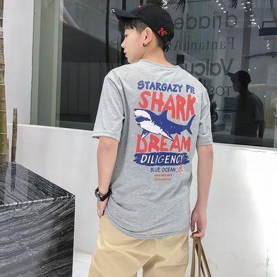 男士短袖T恤韩版时尚潮流夏季半袖鲨鱼圆领宽松上衣服男装打底衫