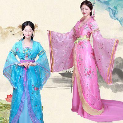 汐�b古装贵妃服装拖尾女唐朝皇后公主仙女汉服影楼写真舞台演出服