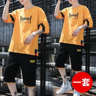 短袖t恤套装男青少年学生韩版潮流夏季宽松一套衣服运动休闲夏装