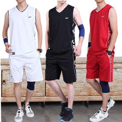 篮球服套装男夏季运动跑步服纯棉比赛队服定制健身服大码背心短裤