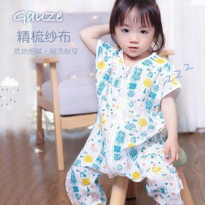 宝宝睡袋婴儿春秋夏季薄款纯棉纱布儿童分腿空调房四季通用防踢被