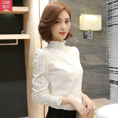 白衬衫女长袖2019春装新款韩版立领纯棉打底衫上衣秋冬加绒衬衣寸