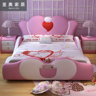 儿童床女孩公主床带护栏可爱创意真皮实木床1.2米1.5米粉色单人床