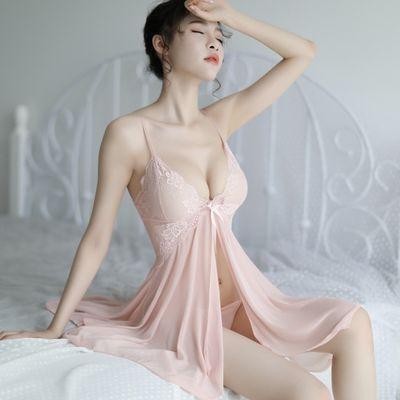 性感睡衣女式吊带夏露背家居服深V背心夏季极度诱惑蕾丝透明睡裙