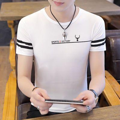 20019夏季新品男装圆领短袖T恤青年男士修身时尚潮流袖短体恤衫潮