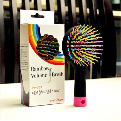 彩虹梳子 美发气囊按摩防静电卷发顺发梳 魔法气垫梳梳带镜子