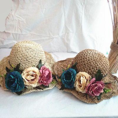 韩版可折叠花朵大沿草帽女夏天百搭小清新海边沙滩夏防晒遮阳帽子