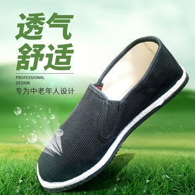 布鞋男夏季防滑板鞋老人软底休闲耐磨工作鞋中年透气单鞋非牛津底
