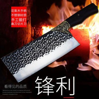 龙泉手工不锈钢锻打菜刀切片刀厨房家用桑刀厨师切肉切菜刀具锋利