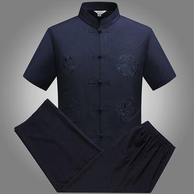 夏季男士短袖唐装男中老年人薄款套装爸爸立领中国风汉服爷爷上衣