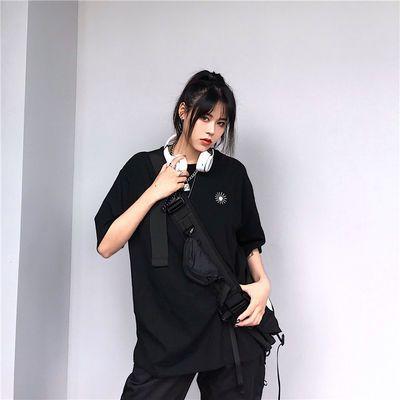 夏季2019新款韩版原宿嘻哈bf风刺绣宽松短袖港味T恤女装上衣ins潮