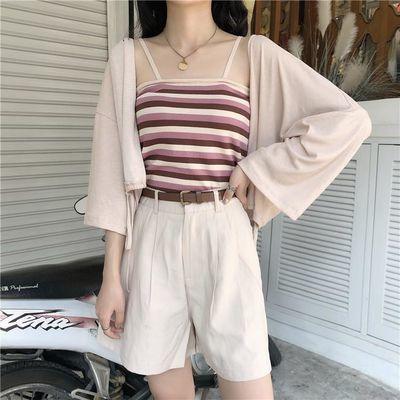 夏季撞色条纹吊带背心女外穿小个子打底针织工字背心修身内搭上衣