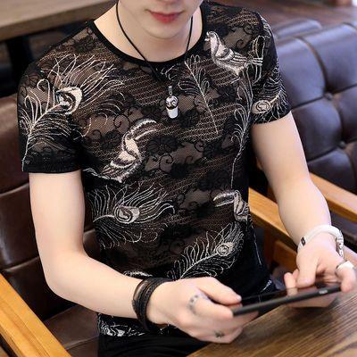 冰丝T恤男蕾丝短袖男装青年修身印花色圆领镂空潮流透气网纱半袖