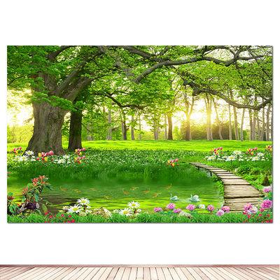 森林树木树林风景画装饰墙贴画花草大树小路绿色护眼壁画自粘海报