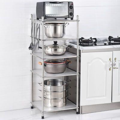 多层厨房置物架落地式微波炉架不锈钢家用烤箱收纳架放锅架省空间