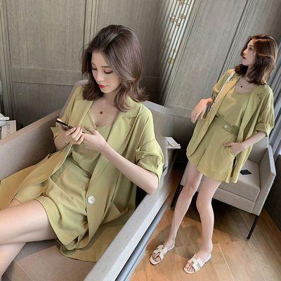 2020夏季新薄西装外套吊带学生短裤抹茶绿套装女休闲网红三件套潮