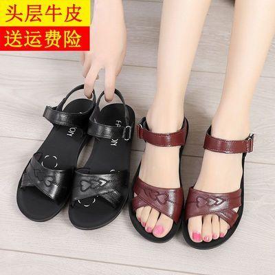 【热销】夏季真皮妈妈凉鞋中老年软底老太太鞋平底防滑老人女凉鞋