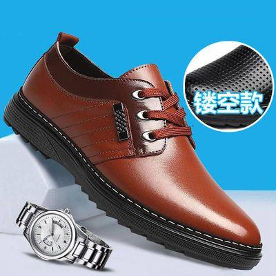 新品男士正装皮鞋帅气镂空透气商务休闲男鞋漆皮帅气低帮系带年轻