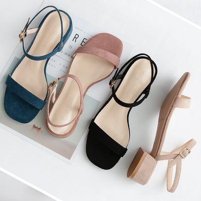 34644/一字扣带凉鞋女3㎝粗低跟2019夏季新款舒适露趾鞋子仙女简约百搭