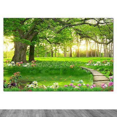 绿荫大树风景画墙贴森林草地书房护眼海报壁画风水客厅背景装饰画