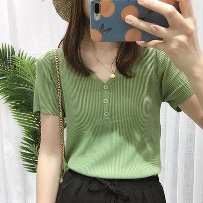 冰丝针织衫女短袖V领2020夏季韩版T恤修身V领打底衫薄上衣