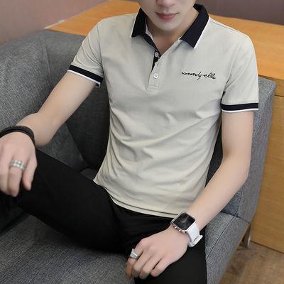 带领短袖t恤男品牌款衬衫潮有boy纯棉长式体夏季中年pl韩版c装七