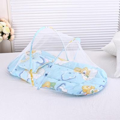 夏季婴儿折叠摇篮蚊帐床中床宝宝免安装有底婴儿床蚊帐罩0-1岁