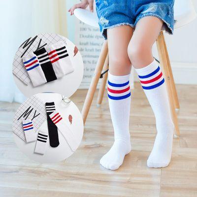 夏季女童三杠高筒袜男童女童白色足球长袜子校服搭配0-15女运动袜