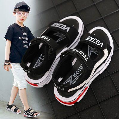 韩版新夏季男童凉鞋舒适透气儿童鞋中大童小学生魔术贴运动沙滩鞋