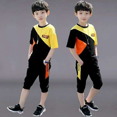 男童夏装2020新款套装洋气中大童夏季短袖两件套儿童装男孩运动潮