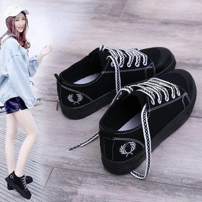 ins韩版潮女帆布鞋学生系带小白鞋女平底板鞋休闲学院小黑鞋单鞋